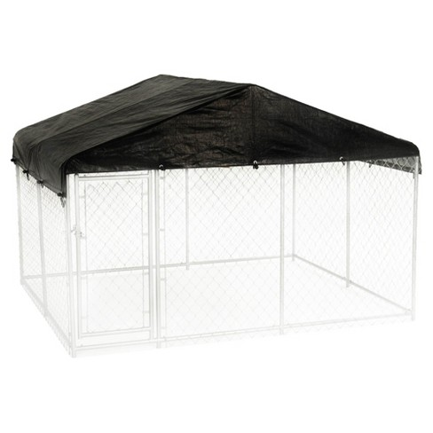 Lucky Dog 10 x 10 Foot Outdoor Chain Link Dog Kennel & Waterproof Roof Cover - image 1 of 4