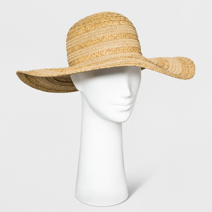 Women's Mix Braid Floppy Hat - A New Day™ Natural - image 1 of 1