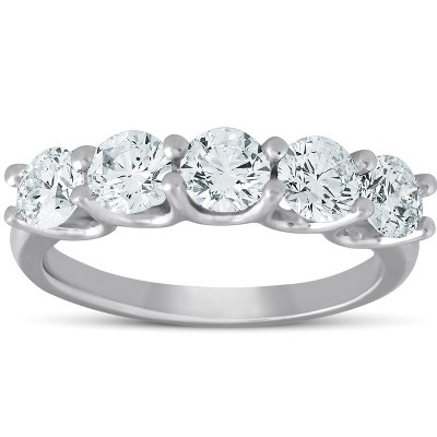 Pompeii3 1 1/2 Ct EX3 Lab Created Diamond Five Stone Wedding Ring 14k White Gold EX3 Lab Created