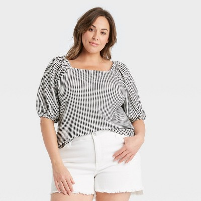 Women's Plus Size Square Neck Slim Fit Puff Sleeve Top - Ava & Viv™