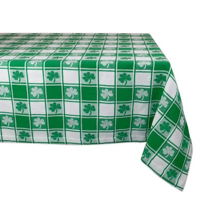 60 x84  Shamrock Woven Check Tablecloth Green - Design Imports