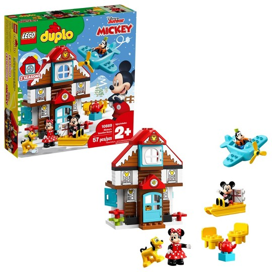 LEGO DUPLO Disney Mickey's Vacation House 10889 Toddler Building Set with Minnie Mouse image number null