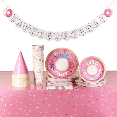 Blue Panda Serves 24, 123 Pieces Donut 1st Birthday Disposable Party Pack with Dinnerware, One Is Sweet