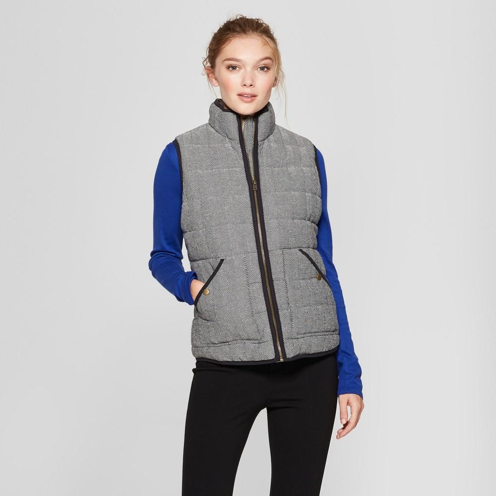 Women's Herringbone Puffer Vest - A New Day Gray M, Black