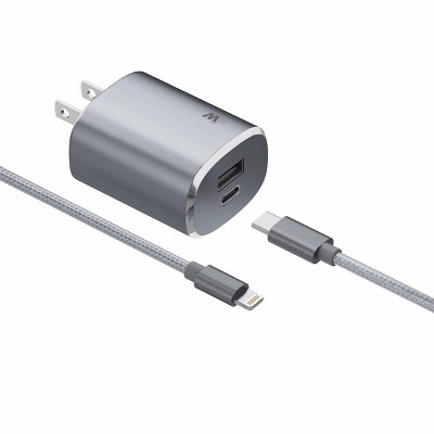 Just Wireless 5.4A/30W 2-Port USB-A/USB-C Home Charger with 6ft Braided Lightning to USB-C Cable - Slate