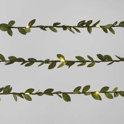 30ct LED Green Leaf Garland Dewdrop String Lights Warm White with Green Wire - Wondershop™