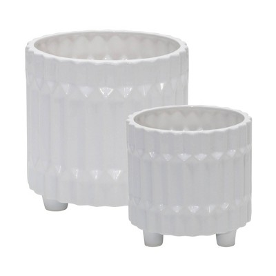 Set of 2 Ceramic Fluted Planter with Feet White - Sagebrook Home