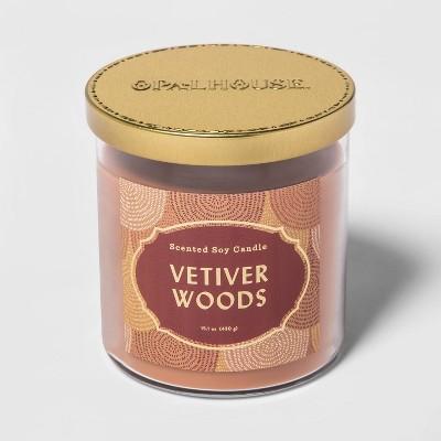 15.1oz Lidded Glass Jar 2-Wick Vetiver Woods Candle - Opalhouse™