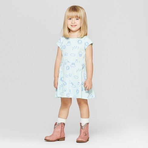 Toddler Girls' Short Sleeve Rainbow Doodle All Over Print Dress - Cat & Jack™ Aqua - image 1 of 3