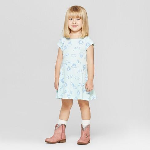 592472820dda Toddler Girls  Short Sleeve Rainbow Doodle All Over Print Dress ...