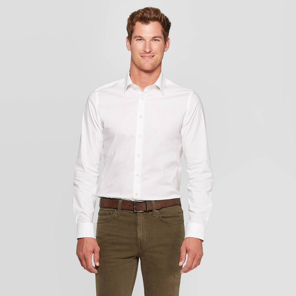Men 39 S Slim Fit Non Iron Dress Long Sleeve Button Down Shirt Goodfellow 38 Co 8482 White Xl