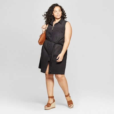 Women's Plus Size Sleeveless Collared Denim Shirtdress   Universal Thread by Universal Thread
