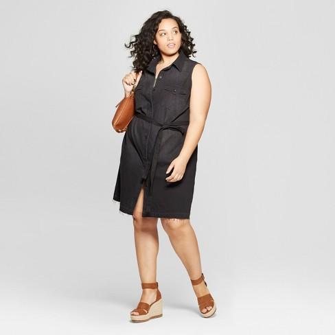 Women\'s Plus Size Sleeveless Collared Denim Shirtdress - Universal ...