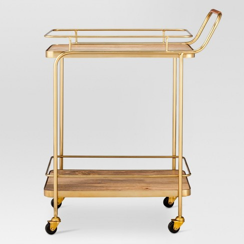 Metal, Wood, and Leather Bar Cart - Gold - Threshold™ - image 1 of 5