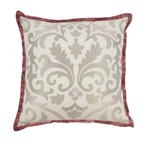 Red Damask Fresco Flourish Embroidered Throw Pillow Waverly