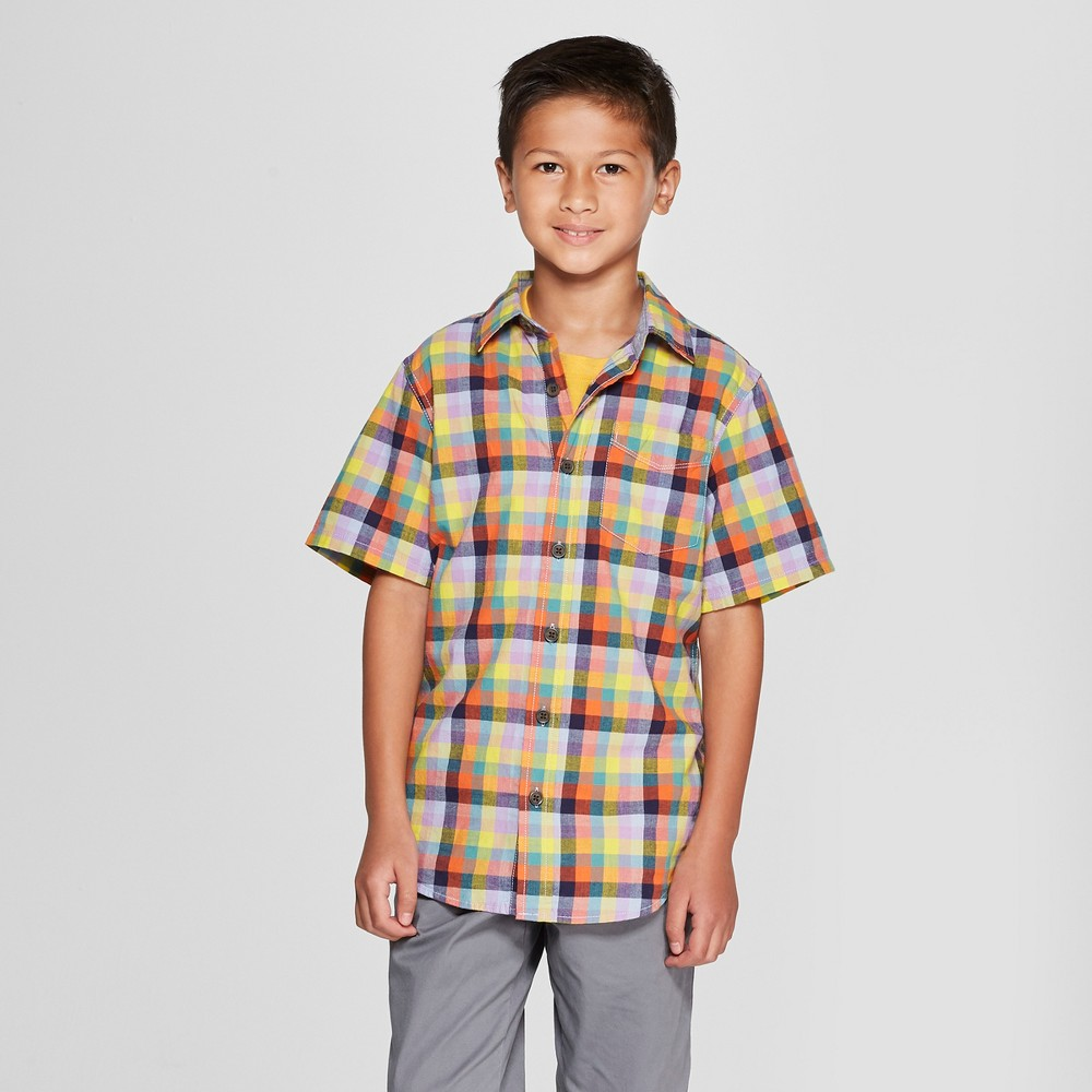 Boys' Short Sleeve Button-Down Shirt - Cat & Jack L Husky, Orange