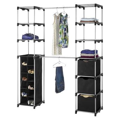 Superbe Whitmor Deluxe Double Rod Closet Organizer   Black : Target