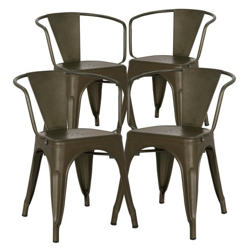 Set of 4 Franco Industrial Arm Chair - Poly & Bark - image 1 of 4