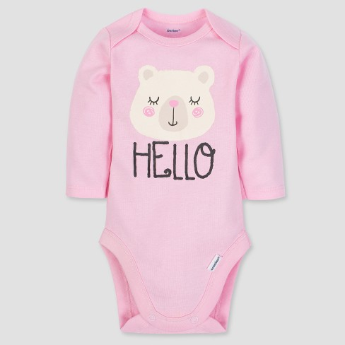 c6c3f42da Gerber Baby Girls' 3pc Long Sleeve Bodysuit Cap And Pants Set - Pink/White  : Target