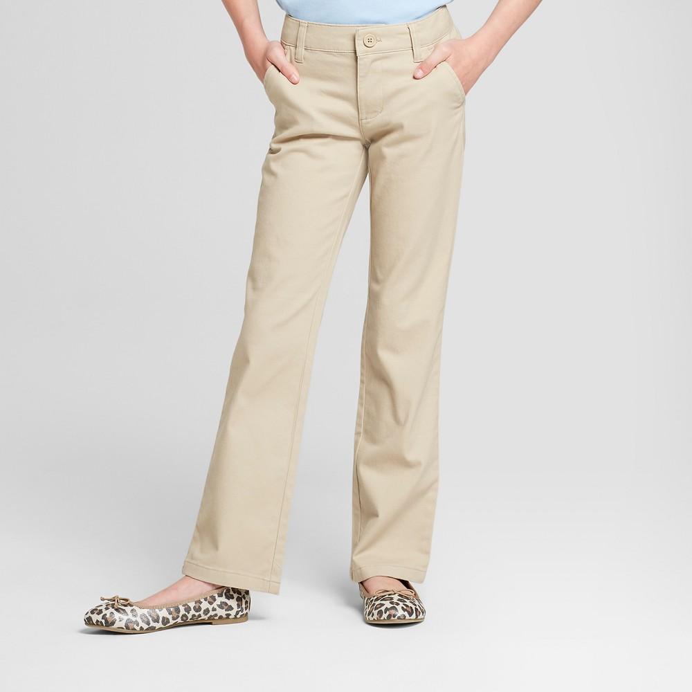 Girls' Bootcut Twill Uniform Chino Pants - Cat & Jack Khaki (Green) 6