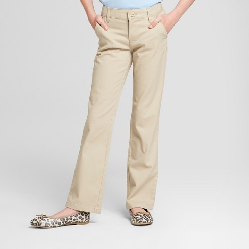 Girls' Bootcut Twill Uniform Chino Pants - Cat & Jack™ - image 1 of 3