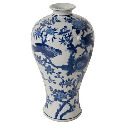 Ren Blue and White Bird Vase - A&B Home