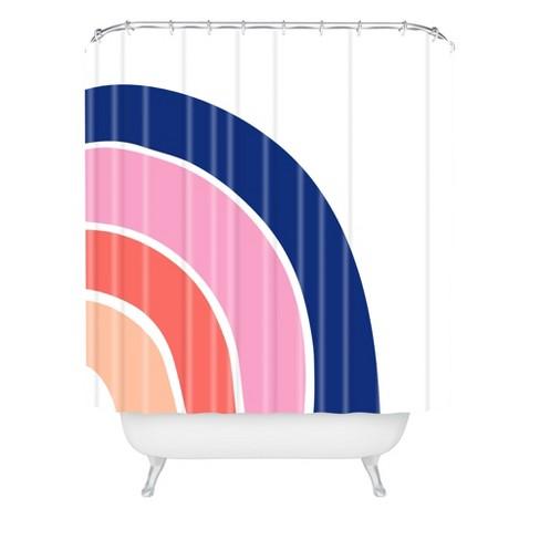 Little Arrow Design Co Pink Unicorn Dreams Shower Curtain White