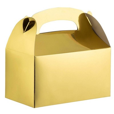 Party Treat Boxes - 24-Pack Metallic Gold Foil Gable Gift Boxes for Party Favors, Small Goodie Candy Boxes for Wedding, Birthday, Gold, 6.2x3.6 x3.4