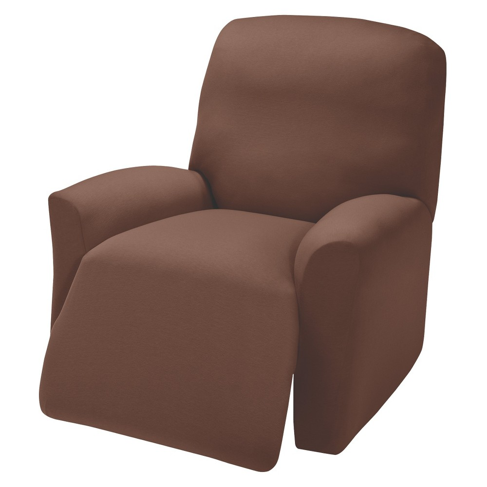 Image of Brown Jersey Large Recliner Slipcover - Madison Industries