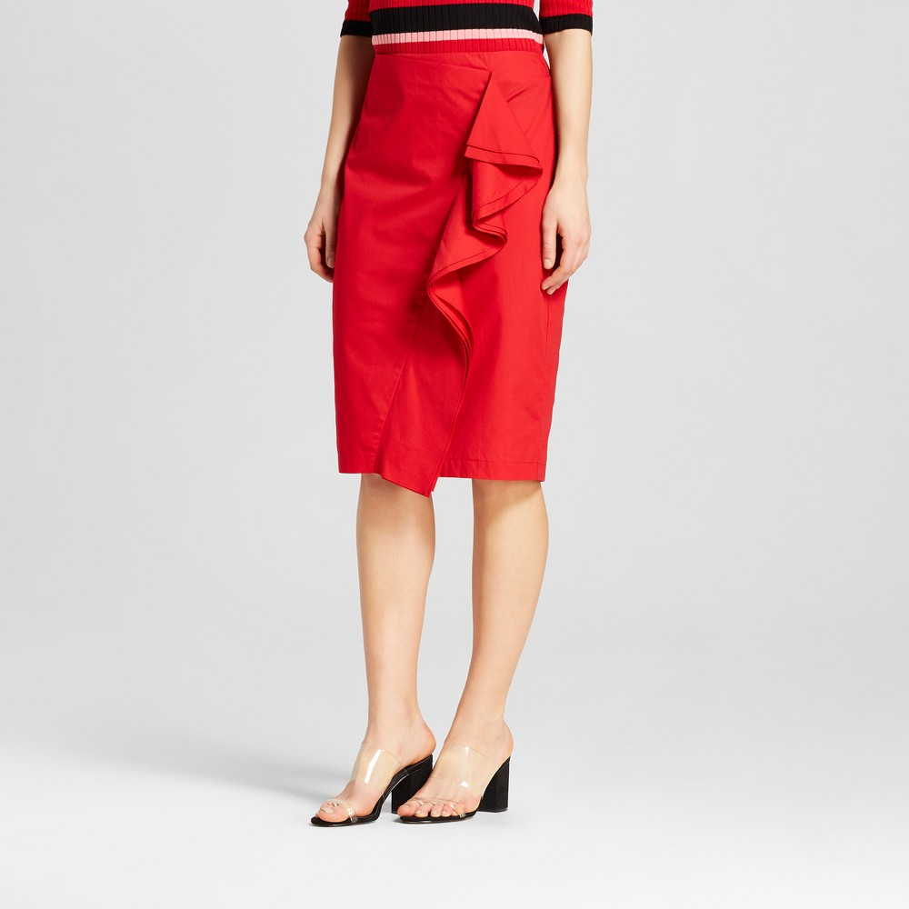 Women's Ruffle Pencil Midi Skirt - Who What Wear Red 8