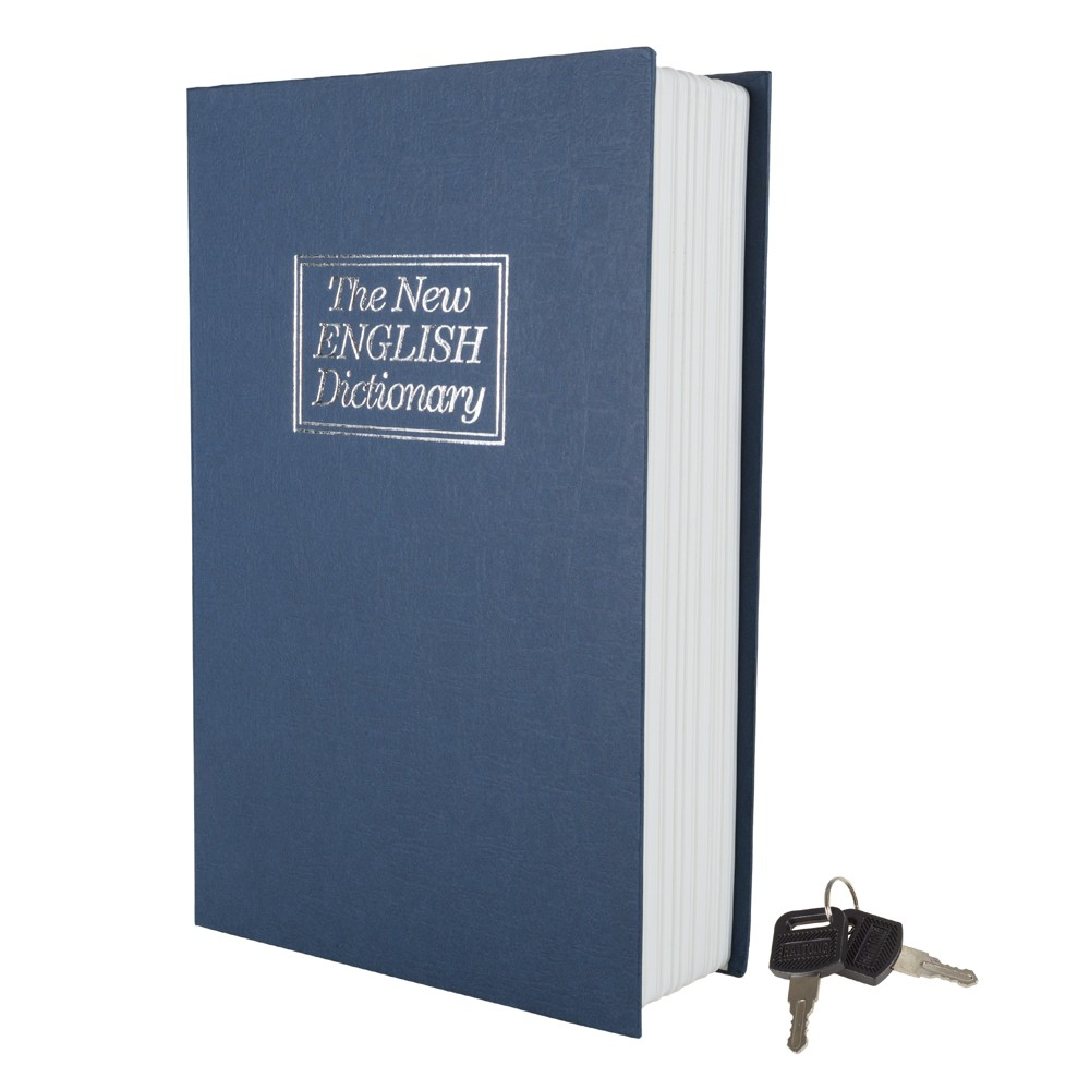Image of Dictionary Diversion Book Safe with Key Lock - Metal, Blue
