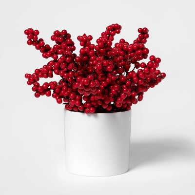 """10"""" x 6"""" Artificial Holly Berry Arrangement in Pot Red/White - Threshold™"""