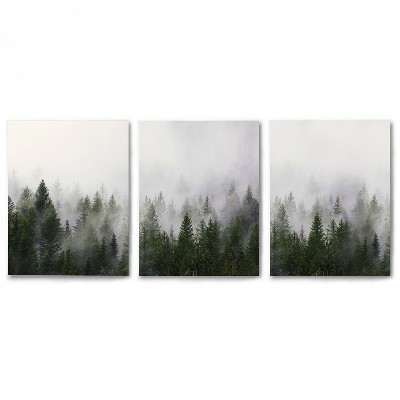 Americanflat Triptych Misty Forest by Tanya Shumkina - Set of 3 Canvas Prints