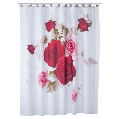 Prelude Rose Shower Curtain Red/White