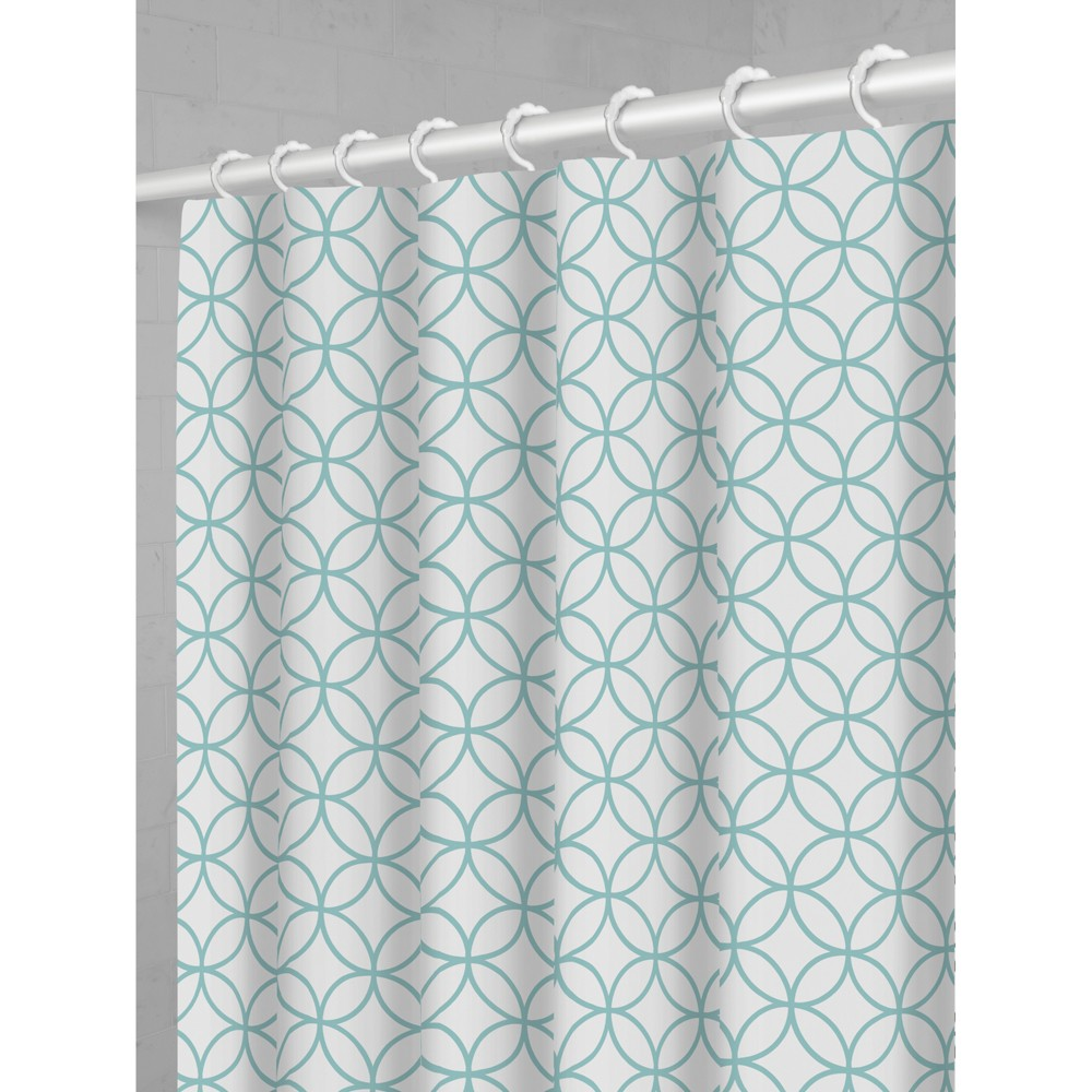 Smart Shower Curtains Trellis Fabric With Attached Hooks Blue - Maytex
