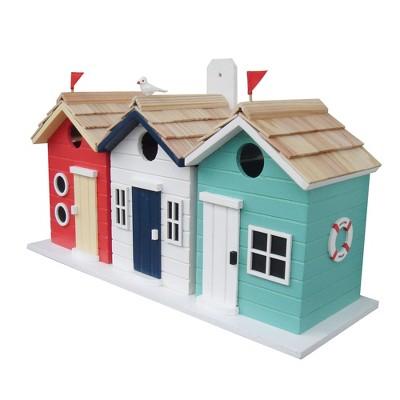 Home Bazaar Brighton Beach Huts Outdoor Wooden Decorative Hanging Box Birdhouse