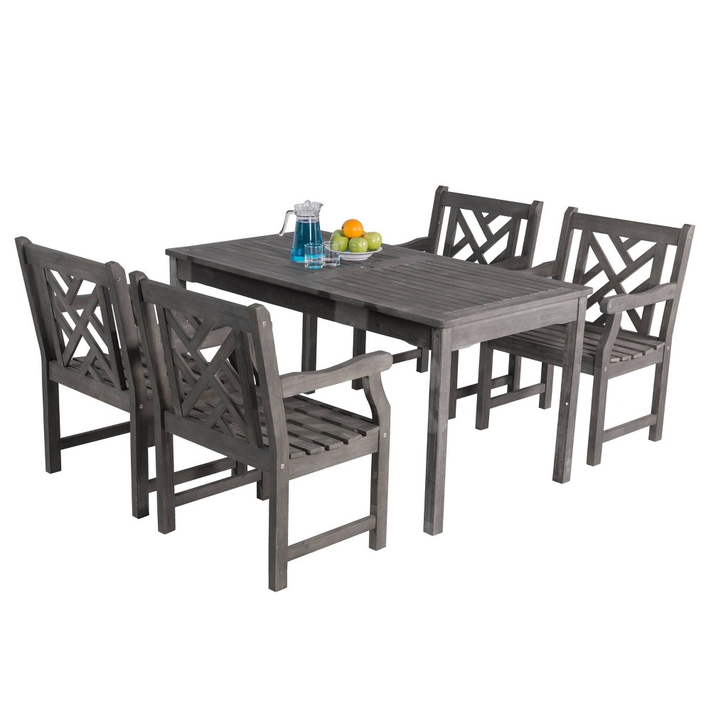 Renaissance 5pc Rectangle Wood Patio Dining Set - Gray - Vifah