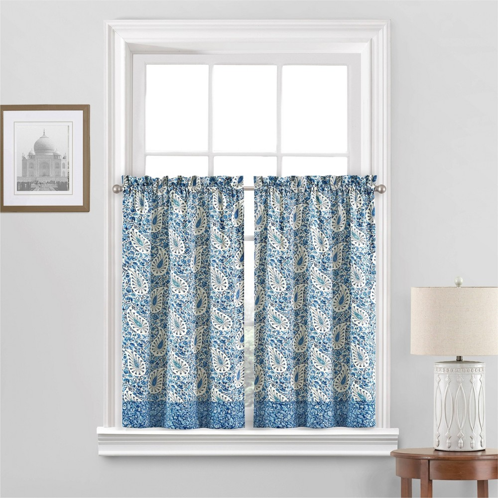 Set Fo 2 36 34 X52 34 Paisley Verveine Window Tier Blue Waverly