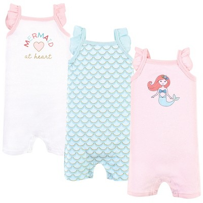 Hudson Baby Infant Girl Cotton Rompers, Coral Mint Mermaid