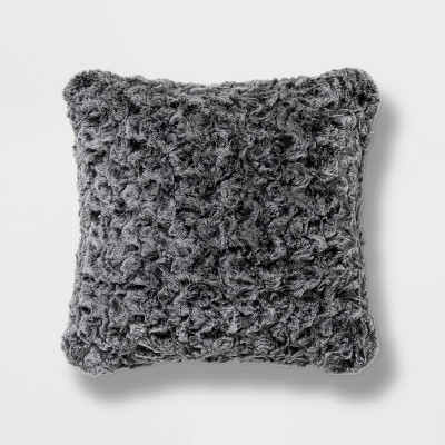 Square Textured Faux Fur Decorative Throw Pillow Gray - Threshold™