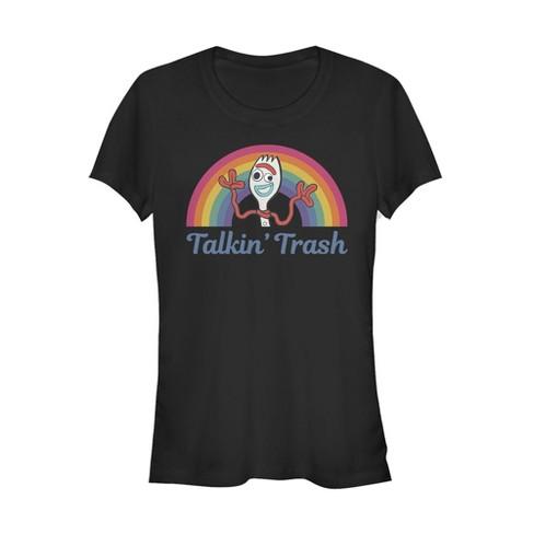 Junior's Toy Story Forky Talkin' Trash Rainbow T-Shirt - image 1 of 1