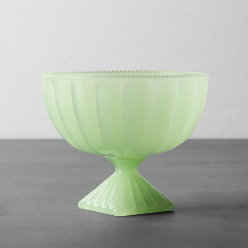 Milk Glass Pedestal Dessert Bowl Green - Hearth & Hand™ with Magnolia - image 1 of 2