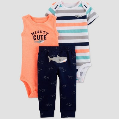 Baby Boys' 3pc Shark Top And Bottom Set - Just One You® made by carter's Orange/Navy Blue/White Newborn