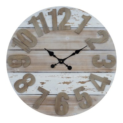 VIP Home & Garden 30 x2 x30  Wood Wall Clock 30  Cream/Brown