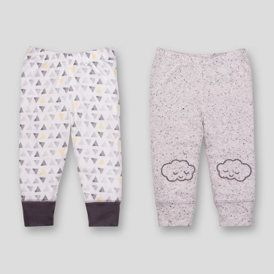 Lamaze Baby Boys' Organic Embroidered Cloud 2pk Pants - Grey Newborn