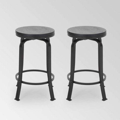 Set of 2 Skyla Modern Industrial Swivel Counter Height Barstool - Christopher Knight Home - image 1 of 4