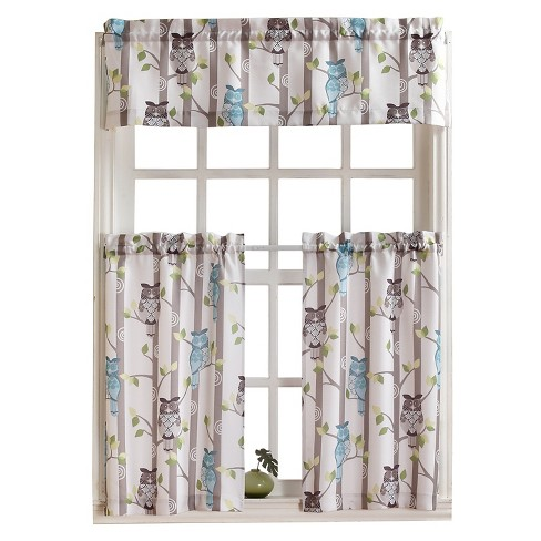 "Owl Print Kitchen Curtain Valance Cream (56""x14') - No. 918 - image 1 of 2"