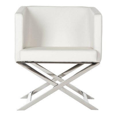 Upholstered Chair White Chrome - Safavieh