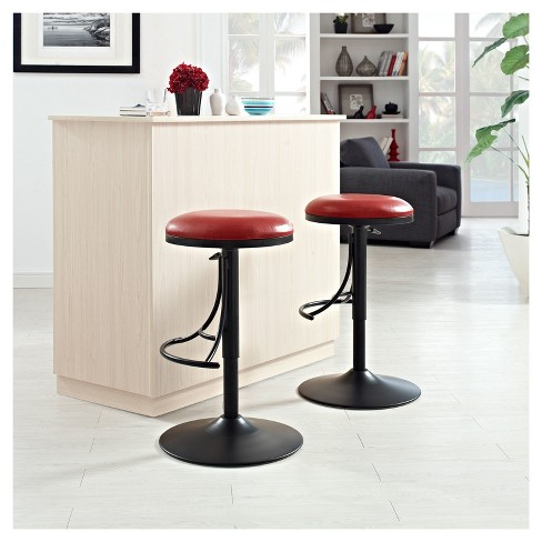 Jasper Backless Swivel Counter Stool Black With Red Cushion Crosley Target