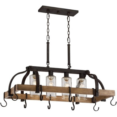 """Franklin Iron Works Bronze Wood Pot Rack Linear Pendant Chandelier 36 1/2"""" Wide Rustic Farmhouse Seeded Glass 4-Light for Kitchen"""